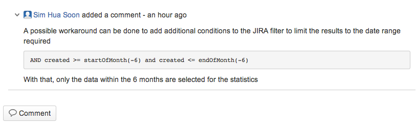 Comment in JIRA